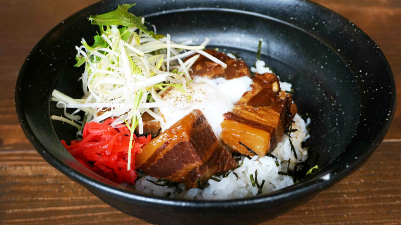 Bowl of rice with stewed pork