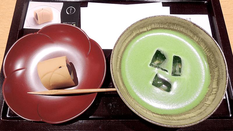 抹茶薄茶「雲鶴」(冰),搭配自選和菓子