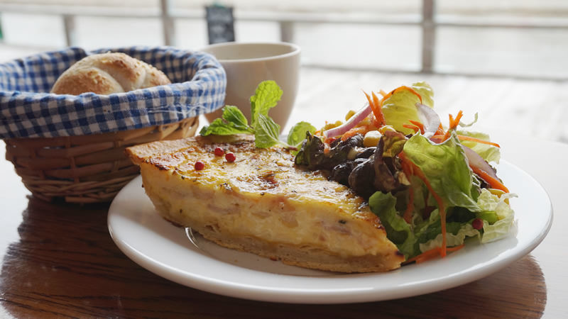 Quiche and Salad-Lorrine:Bacon,Onion