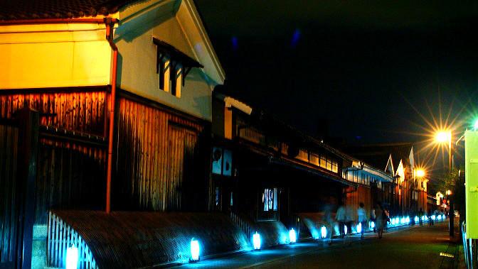 酒藏大道周圍的夜間照明