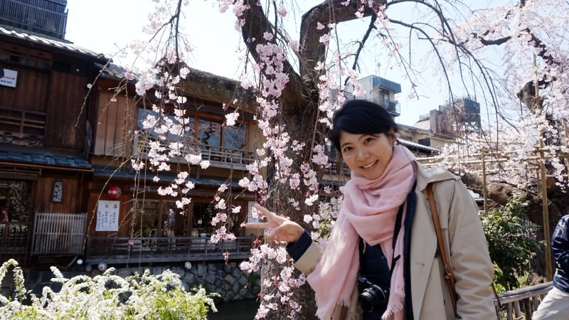The weeping cherry trees and Vanessa