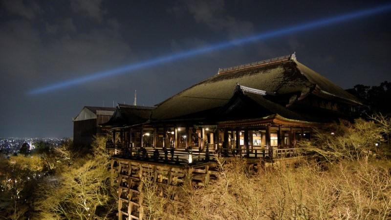 Kiyomizu-dera Temple illuminated at night