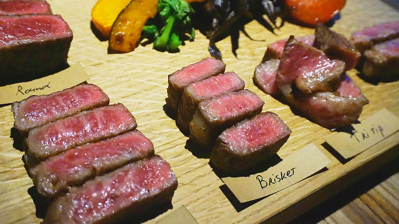 Compare the taste of different parts of Kyoto beef