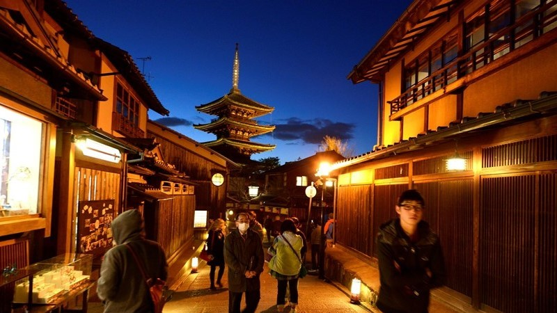 Yasaka Pagoda illuminated during Higashiyama Hanatoro