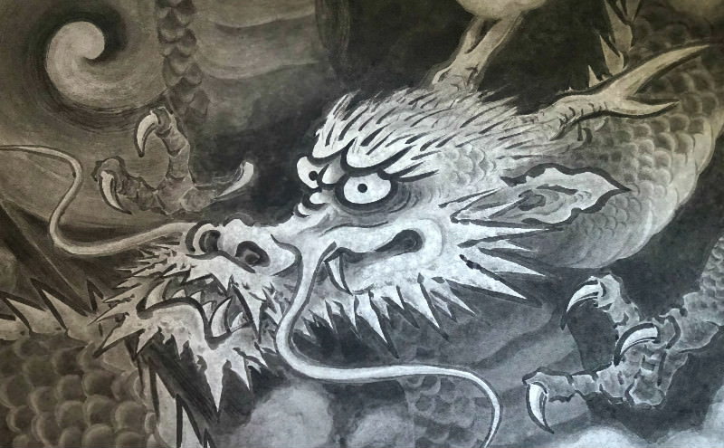 Dragon on a folding screen