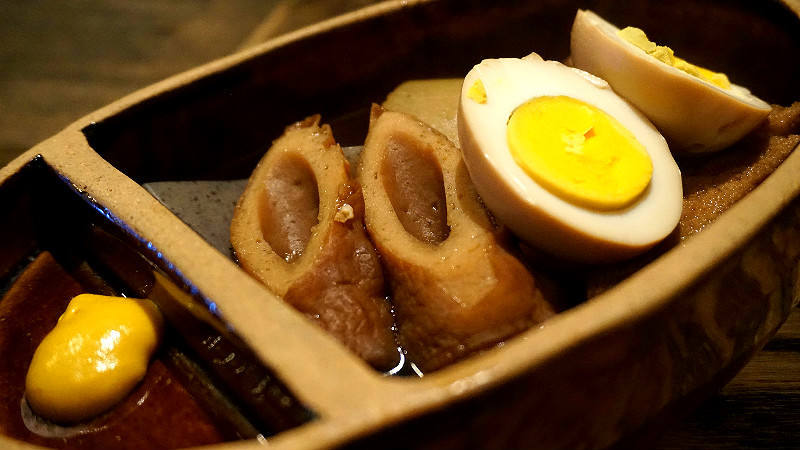 5 kinds of oden (white radish, egg, konjac, renkon, deep fried tofu)