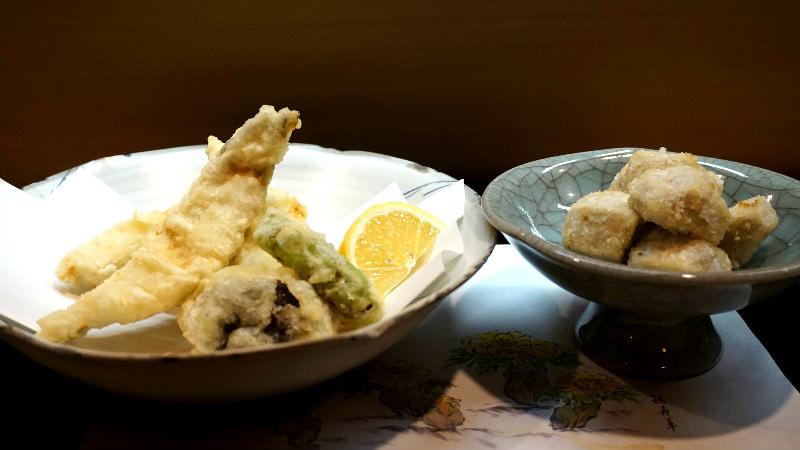 天婦羅(蝦芋和鰻魚)