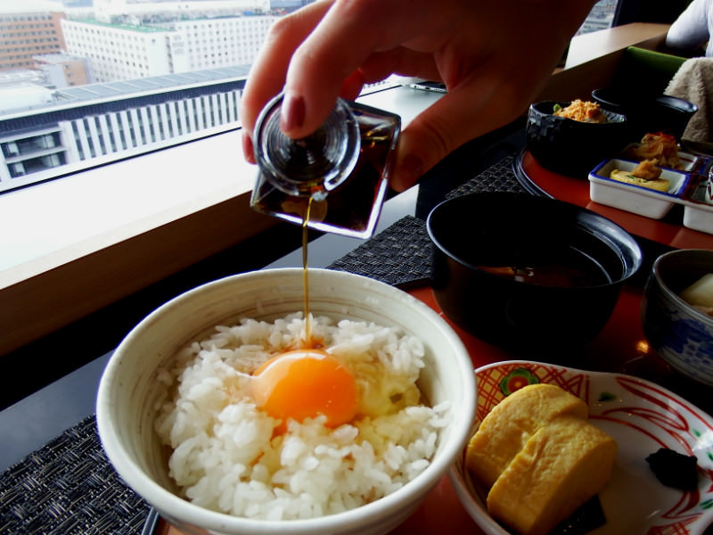 Raw egg produced in Miyama, Kyoto as a topping