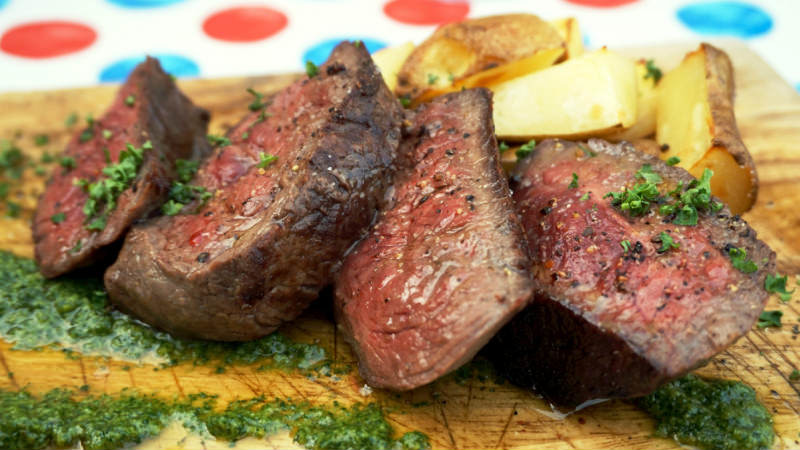 Charcoal-grilled beef steak