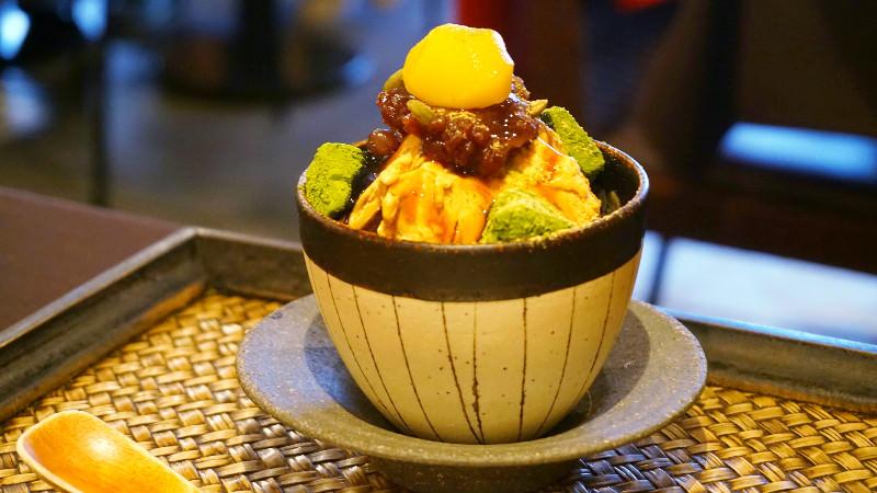 Matcha parfait with roasted soy flour ice cream