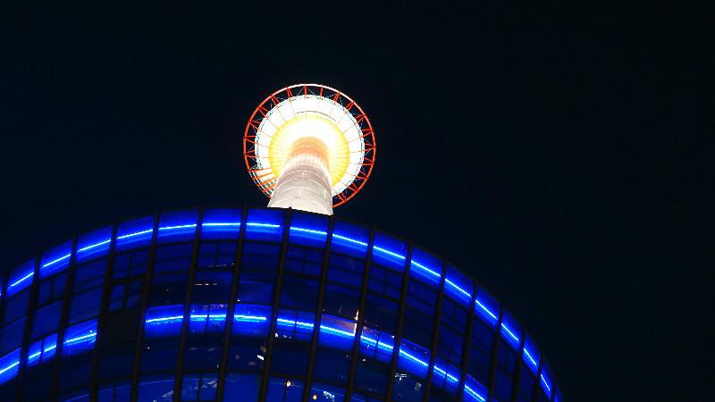 觀賞夜間點燈的京都塔