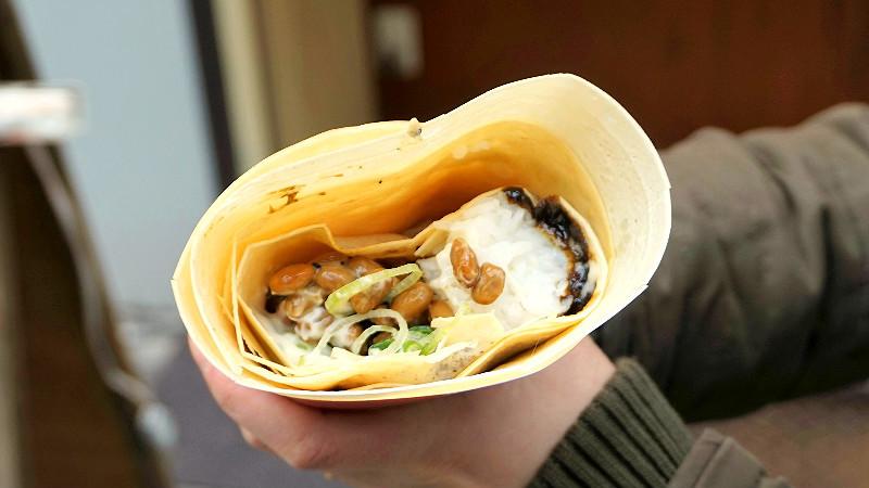 Natto & rice crepe