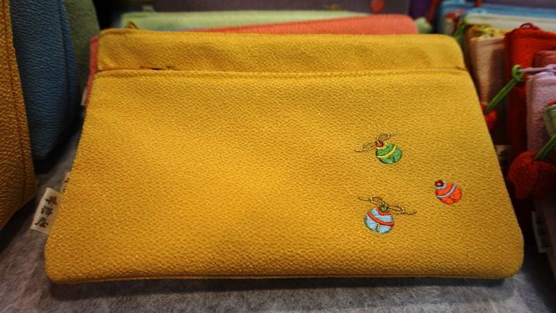 「Kosuzu」繡花絲綢縐紗雙拉鍊袋
