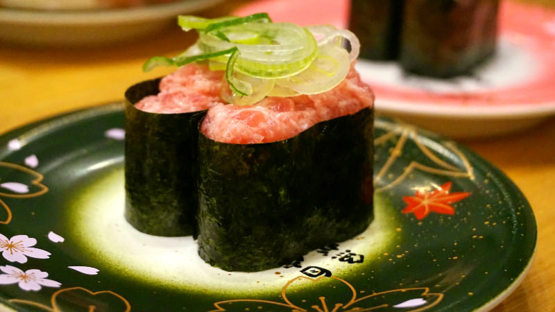 Gunkan sushi with fragrant seaweed