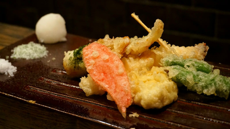 Tempura (shrimp, red ginger, tofu skin, renkon, small green pepper)