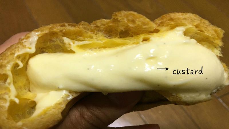 There is vanilla custard inside the cream puff