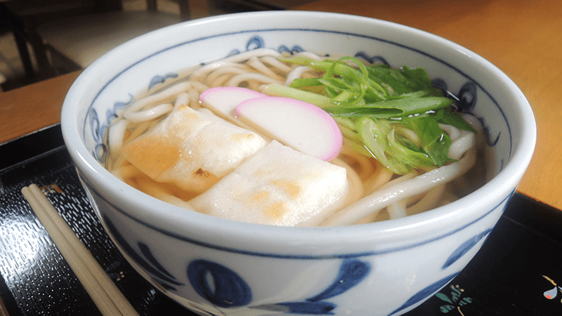 Hot noodle with mochi(rice cake)