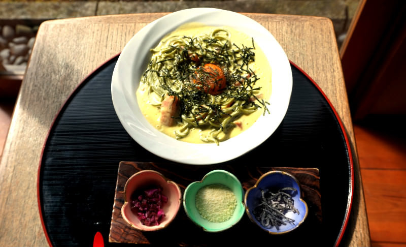 Green tea Soba Carbonara