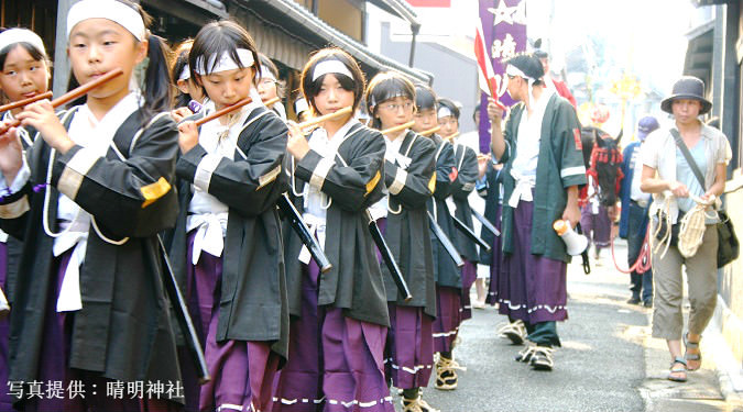 Parade of boy flutists