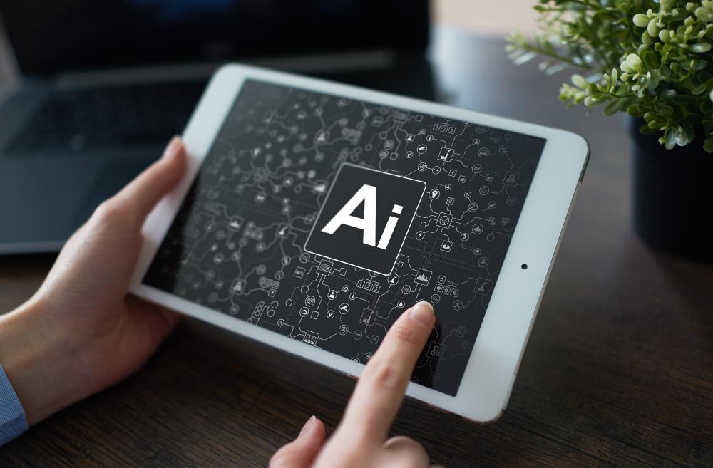 AIの文字が表示されているタブレット端末
