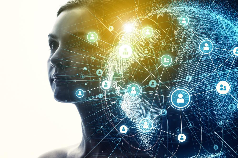 女性と重なるネットワークのイメージ