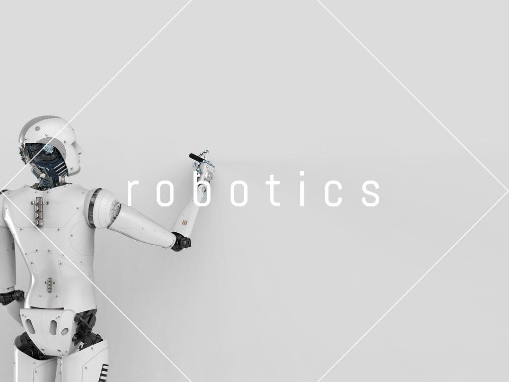 ロボットがホワイトボードに何かを書く様子