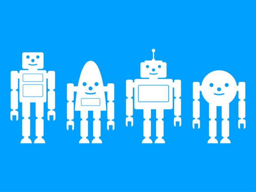 様々な容姿のロボットが並ぶ様子