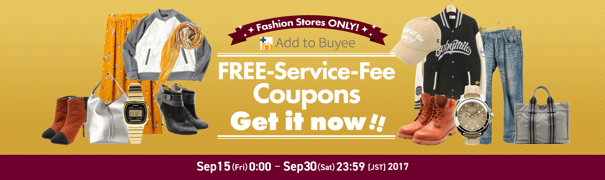 Limited Promo for Fashion Stores Free-service-fee Coupons Get it now!!