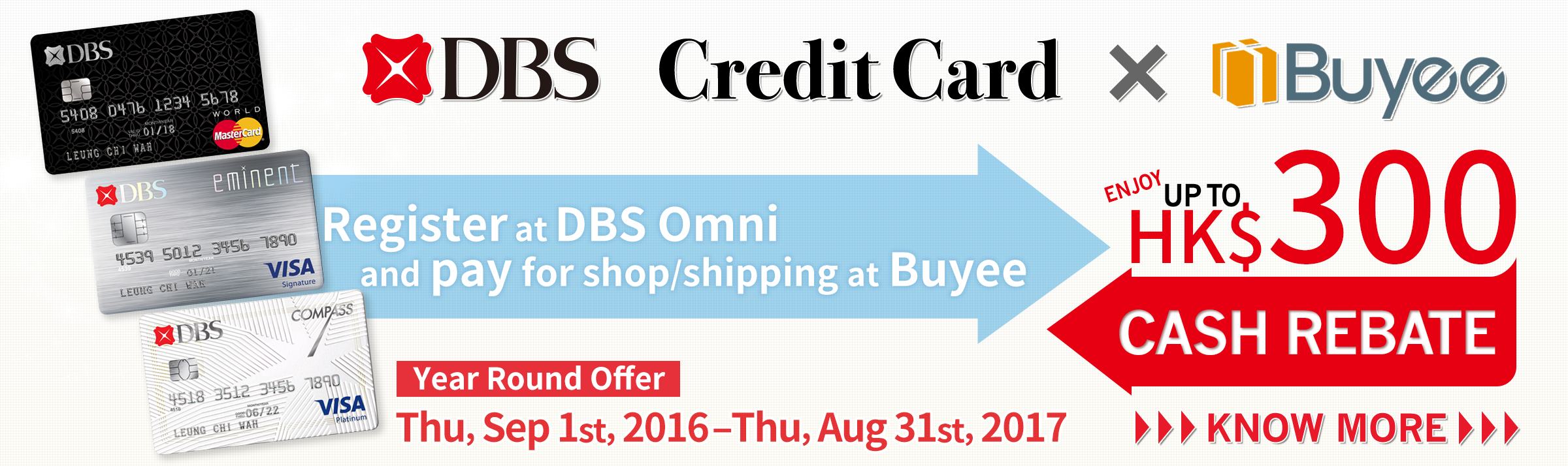 Register online with DBS Credit Card and pay for shipping or shop at tenso.com & Buyee to enjoy up to HK$300 cash rebate.