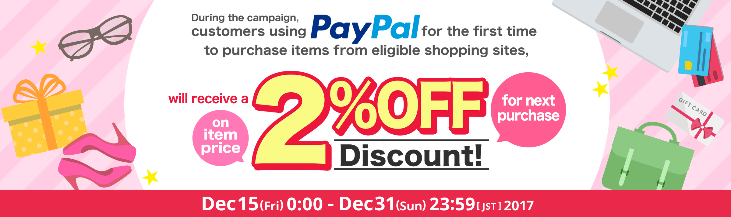 Valid on First Purchase Get a 2% off coupon on item price by purchasing from shopping sites via PayPal