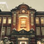 東京駅が降雪で昔のヨーロッパの駅のように壮大に変わる