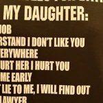 「俺の娘と付き合う為のルール10箇条」Tシャツ