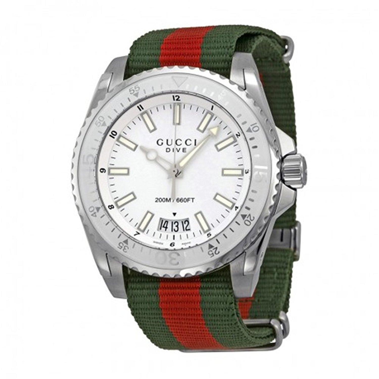 GUCCI 腕時計 ダイヴナイロンバンドホワイト