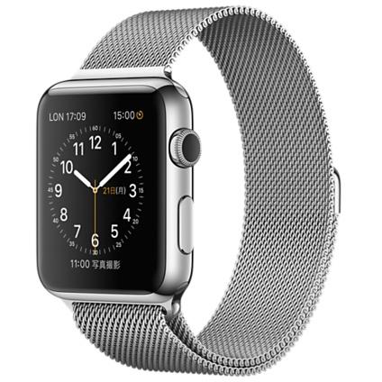Apple Watch 42mmステンレススチールケースとミラネーゼループ