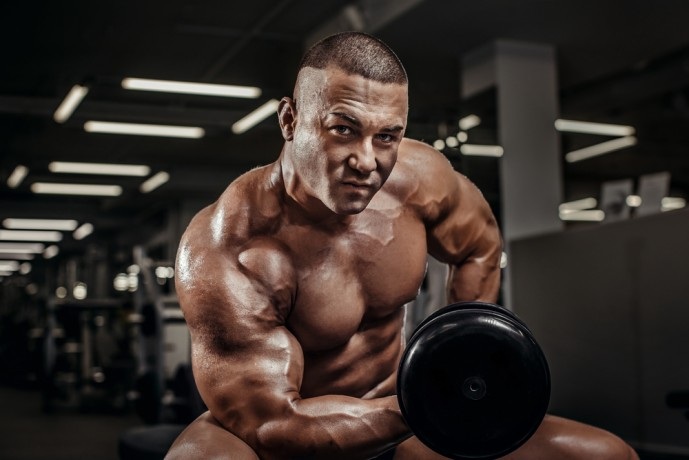 コンセントレーションカールを行う筋肉質な男性