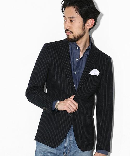 ヘンリーネックシャツを使ったテーラードジャケットの着こなし方