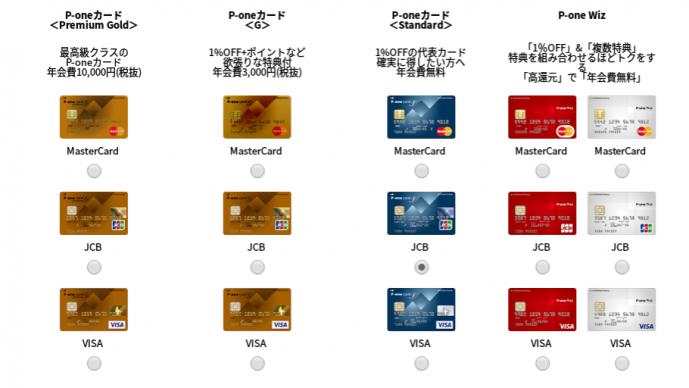 p-oneカードの種類