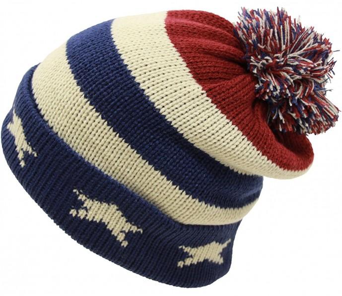 ニット帽 USA国旗付き