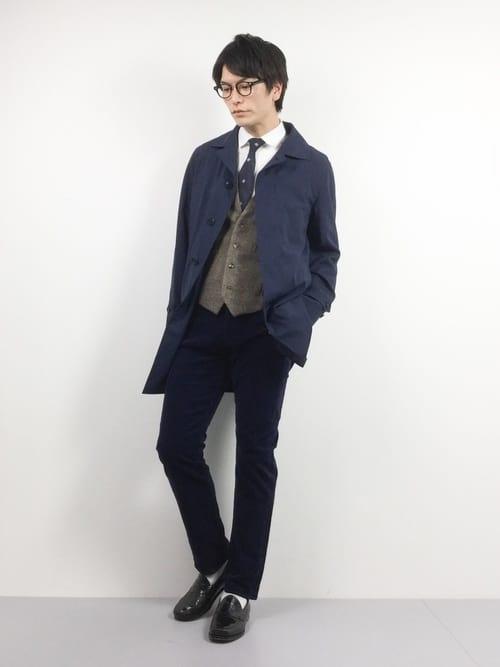 スーツとステンカラーコートの着こなし術