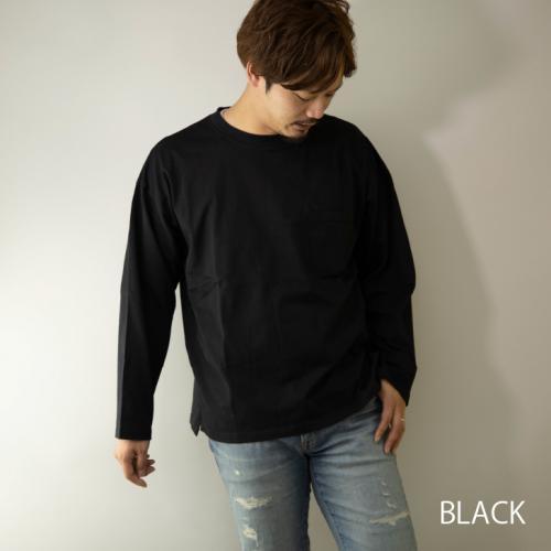 【2020新作】 Tシャツ メンズ 長袖 ビッグシルエット ポケット付き ヘビーオンス ロングTシャツ ロンT 26505