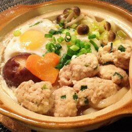サカママレシピ ―ふわふわのとり団子★鍋焼きうどん―