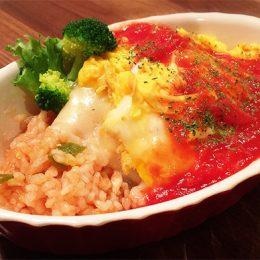 サカママレシピ ―チキンライス★トロトロ卵とチーズのせ―