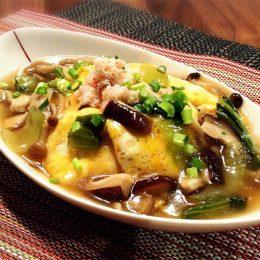 サカママレシピ ―カニとキノコの天津飯―