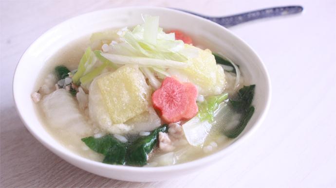 サカママレシピ ―揚げ餅入り中華風ぞうすい―