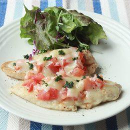 サカママレシピ ―ささみのソテー フレッシュトマトとチーズのソース―