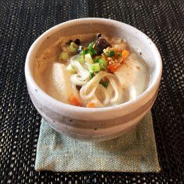 サカママレシピ ―身体にやさしい★豆腐とキノコの豆乳にゅう麺―
