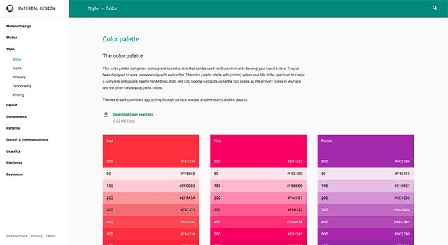 Googleのマテリアルデザインのカラーパレット