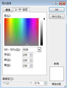 色の設定のユーザー設定タブを開いてる図