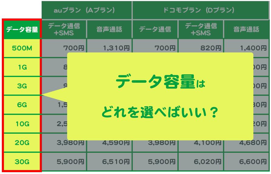 データ容量はどれを選べばいい?