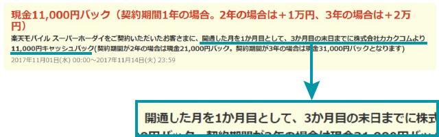 価格.com経由で楽天モバイルを契約する際、スーパーホーダイプランを選ぶと最大31,000円が3ヶ月後に受け取れるキャッシュバックキャンペーンが行われている。【2017年11月現在)
